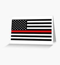 Firefighter: Black Flag & Red Line Greeting Card