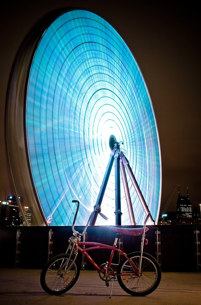 Little Red Pushbike meets Big Blue Ferris Wheel by David Johnson