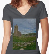 Glencolmcille Panorama with Church Women's Fitted V-Neck T-Shirt