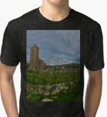 Glencolmcille Panorama with Church Tri-blend T-Shirt