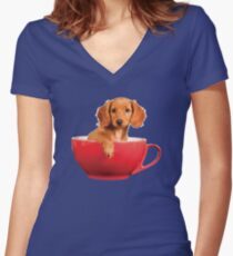 Puppy Dog in a Tea Cup Women's Fitted V-Neck T-Shirt