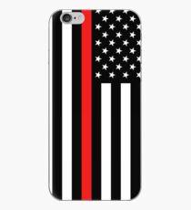 Vinilo o funda para iPhone Bombero: bandera negra y línea roja