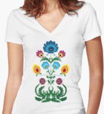 Colorful Floral Polish Folk Art Women's Fitted V-Neck T-Shirt