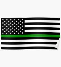 U.S. Flag: Thin Green Line Poster