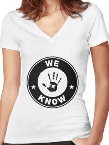 Skyrim - 'We Know' Dark Brotherhood Hand Print Women's Fitted V-Neck T-Shirt