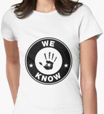 Skyrim - 'We Know' Dark Brotherhood Hand Print Womens Fitted T-Shirt