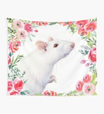 White Rat and Red Flowers Watercolor Floral Animal Wall Tapestry