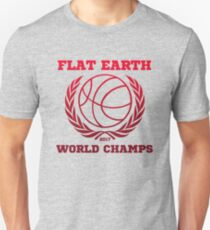 Flat Earth World Champs - CLASSIC DEEP RED ON GRAY basketball Flat Earth Designs T-Shirt