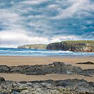 storm clouds with soft cliff waves by morrbyte