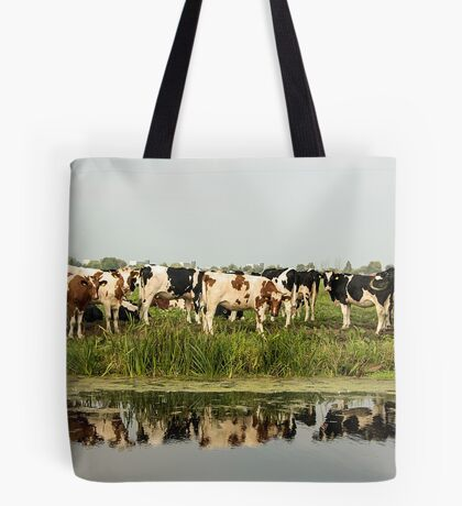 Cows and their reflective image Tote Bag