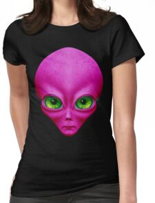 Psychedelic Neon Alien In Magenta Womens Fitted T-Shirt