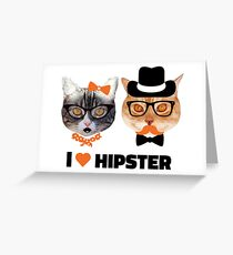 I <3 Hipster Greeting Card