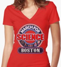 March for Science BOSTON 2017 Shirts Women's Fitted V-Neck T-Shirt