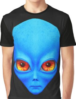 Psychedelic Neon Alien Head In Blue Graphic T-Shirt