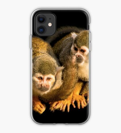 Two squirrel monkeys agains black background iPhone Case