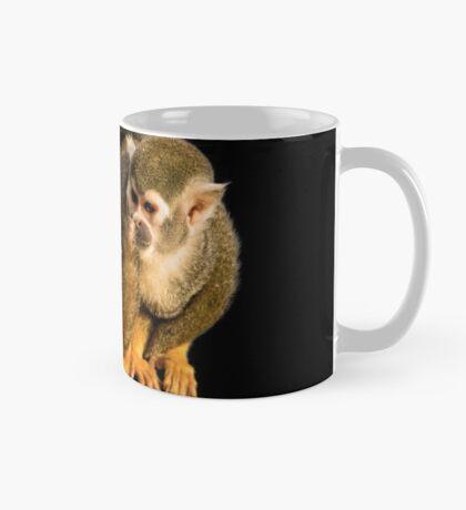 Two squirrel monkeys agains black background Mug