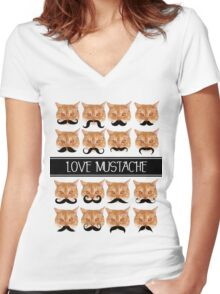 Love mustache Women's Fitted V-Neck T-Shirt