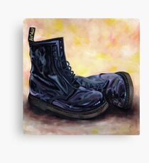 A Pair of Patent Black Dr Martens Canvas Print