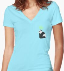 Pondering Panda Bamboo Women's Fitted V-Neck T-Shirt