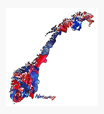 Watercolor Countries - Norway Photographic Print