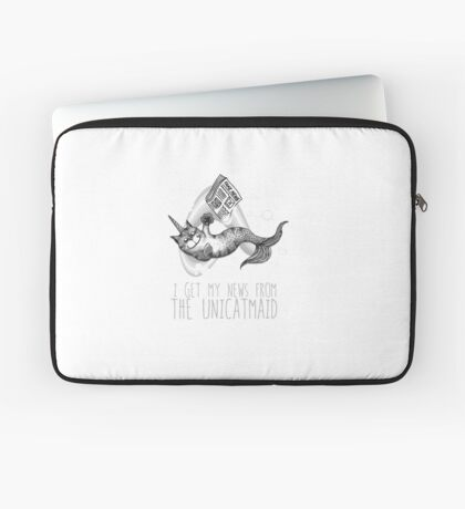 I get my news from the unicatmaid - fake news Laptop Sleeve