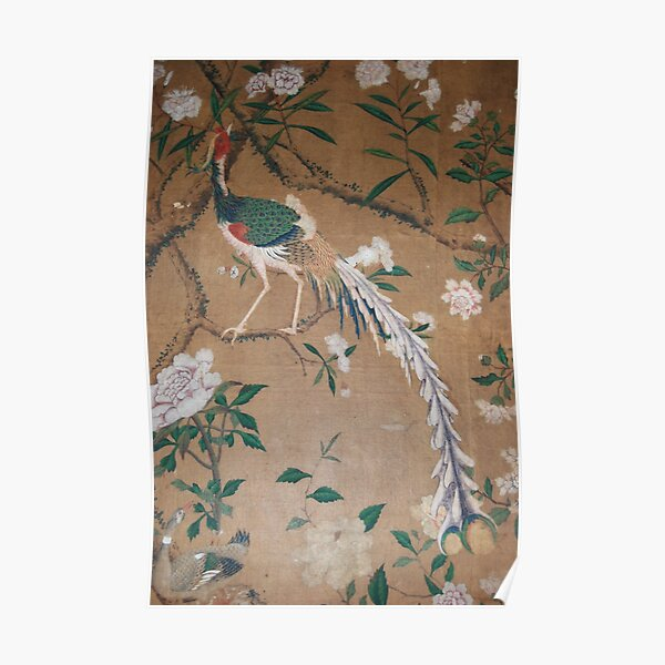 Antique French Chinoiserie in Tan & White Poster