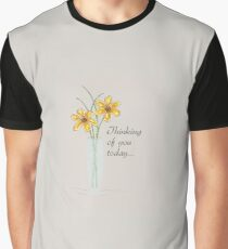 Thinking of You, Two Flowers Vase Daisies Graphic T-Shirt