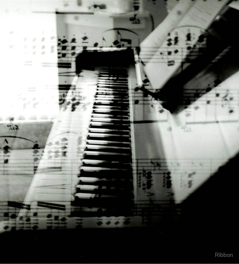 Piano with Music by Ribbon