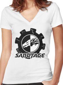 Sabotage Gear Design Women's Fitted V-Neck T-Shirt