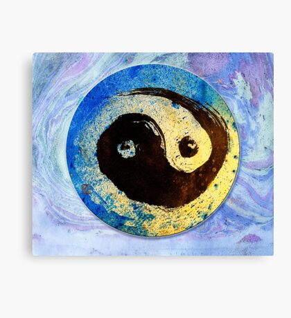 Yin Yang vibrant Zen Art ink design  Canvas Print