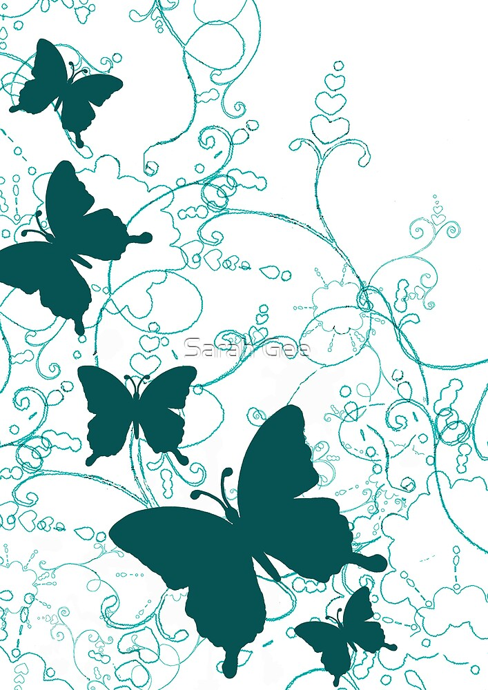 Teal butterfly garden by Sarah Gee