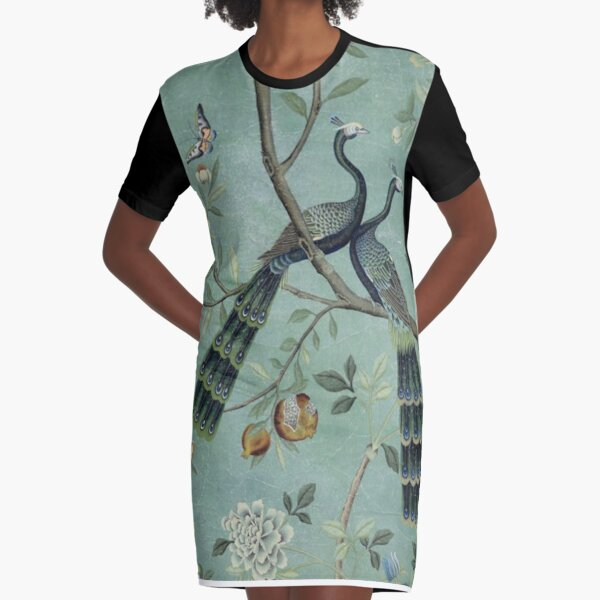 A Teal of Two Birds Chinoiserie Graphic T-Shirt Dress
