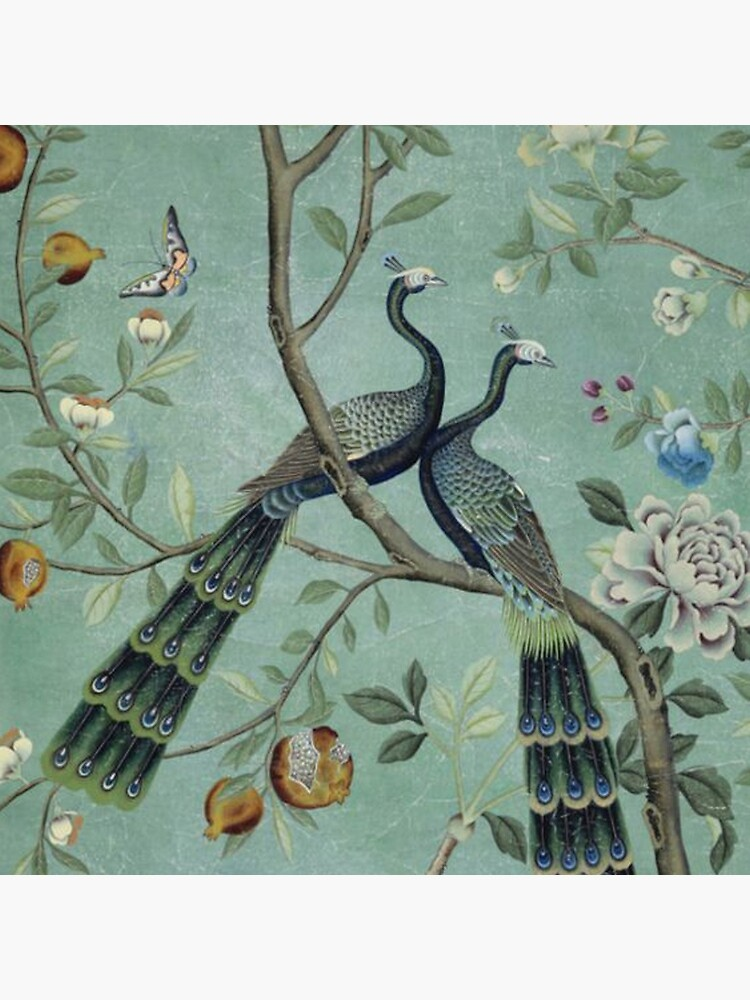 A Teal of Two Birds Chinoiserie by TheChinoiserie