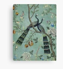 A Teal of Two Birds Chinoiserie Canvas Print