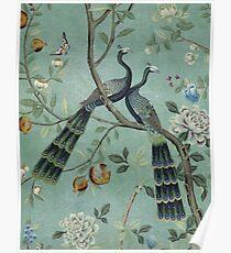 Eine Knickente der zwei Vogel-Chinoiserie Poster