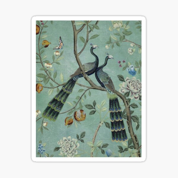 A Teal of Two Birds Chinoiserie Sticker