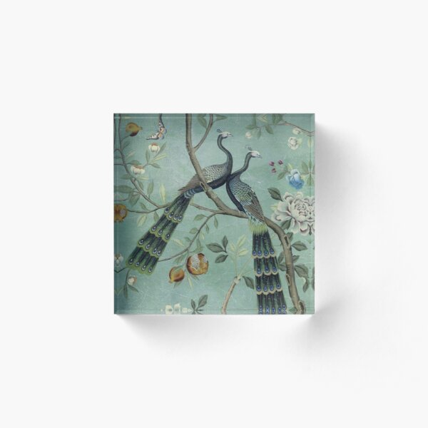 A Teal of Two Birds Chinoiserie Acrylic Block
