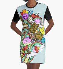 Cartoon Doodle Graphic T-Shirt Dress
