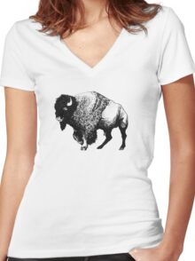 Buffalo Ink Bison Drawing Women's Fitted V-Neck T-Shirt