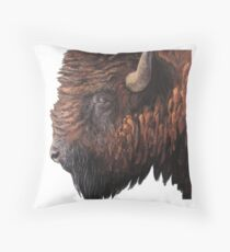 Buffalo Portrait Painting Throw Pillow