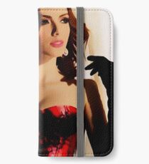 Lady in red, glamour dark haired beauty iPhone Wallet