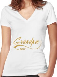 Grandpa EST 2017-Funny family Shirt, Gift For New Mens Grey Raglan Shirt, Pregnancy Reveal Idea, Surprise New Grandparents, Grandpa, fathers day,Mug, Pillow, Phone case  Women's Fitted V-Neck T-Shirt