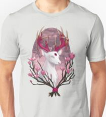 White Stag with Magnolias Unisex T-Shirt