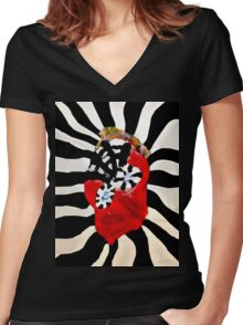 Spider Head  Women's Fitted V-Neck T-Shirt