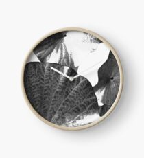 Black and White Lotus Leafs Abstract Clock