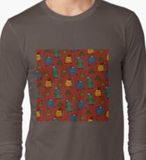 happy new year monsters pattern Long Sleeve T-Shirt