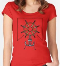 Steering Helm and Anchor Women's Fitted Scoop T-Shirt