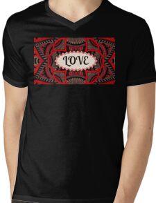 Love Pattern Mens V-Neck T-Shirt