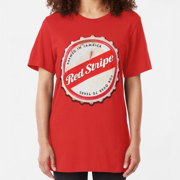 Red Stripe Bottle Cap Slim Fit T-Shirt