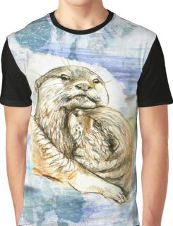 Otters Embrace in Grunge Water Graphic T-Shirt